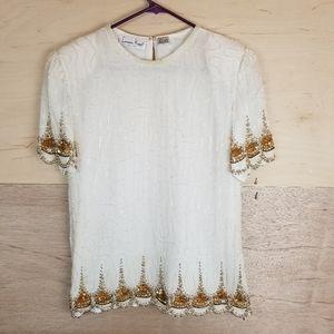 Vintage Laurence Kazar Beaded White Gold Blouse